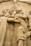 Jesolo lido, Italia : Sand Nativity 2016: wonderful sand scultures depicting the sacred family and the exodus of the bible. Jesolo lido, Italia: Sand Nativity Stock Image