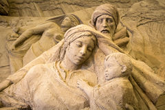 Jesolo lido, Italia : Sand Nativity 2016: wonderful sand scultures depicting the sacred family and the exodus of the bible. Stock Photos