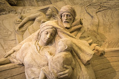 Jesolo lido, Italia : Sand Nativity 2016: wonderful sand scultures depicting the sacred family and the exodus of the bible. Jesolo lido, Italia: Sand Nativity Royalty Free Stock Images