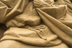 Jesolo lido, Italia : Sand Nativity 2016: wonderful sand scultures depicting the sacred family and the exodus of the bible. Royalty Free Stock Photography