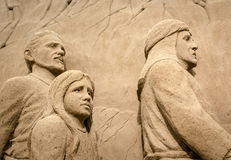 Jesolo lido, Italia : Sand Nativity 2016: wonderful sand scultures depicting the sacred family and the exodus of the bible. Jesolo lido, Italia: Sand Nativity Stock Images
