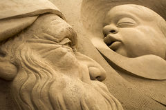 Jesolo lido, Italia : Sand Nativity 2016: wonderful sand scultures depicting the sacred family and the exodus of the bible. Jesolo lido, Italia: Sand Nativity Royalty Free Stock Photography
