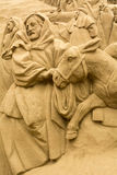 Jesolo lido, Italia : Sand Nativity 2016: wonderful sand scultures depicting the sacred family and the exodus of the bible. Royalty Free Stock Images