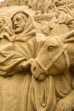 Jesolo lido, Italia : Sand Nativity 2016: wonderful sand scultures depicting the sacred family and the exodus of the bible. Stock Image
