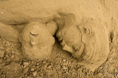 Jesolo lido, Italia : Sand Nativity 2016: wonderful sand scultures depicting the sacred family and the exodus of the bible. Stock Photo