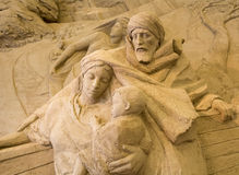 Jesolo lido, Italia : Sand Nativity 2016: wonderful sand scultures depicting the sacred family and the exodus of the bible. Jesolo lido, Italia: Sand Nativity Royalty Free Stock Photos