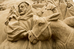 Jesolo lido, Italia : Sand Nativity 2016: wonderful sand scultures depicting the sacred family and the exodus of the bible. Jesolo lido, Italia: Sand Nativity Stock Photo