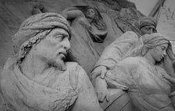 Jesolo-lido, Italien: Sand-Geburt Christi 2016: wunderbare Sand scultures, welche die heilige Familie und den Exodus der Bibel da Lizenzfreies Stockfoto