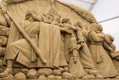 Jesolo-lido, Italien: Sand-Geburt Christi 2016: wunderbare Sand scultures, welche die heilige Familie und den Exodus der Bibel da Lizenzfreie Stockbilder