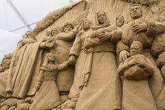 Jesolo-lido, Italien: Sand-Geburt Christi 2016: wunderbare Sand scultures, welche die heilige Familie und den Exodus der Bibel da Stockbild