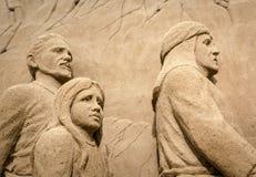 Jesolo-lido, Italien: Sand-Geburt Christi 2016: wunderbare Sand scultures, welche die heilige Familie und den Exodus der Bibel da Stockbilder