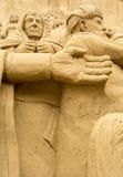 Jesolo-lido, Italien: Sand-Geburt Christi 2016: wunderbare Sand scultures, welche die heilige Familie und den Exodus der Bibel da Lizenzfreie Stockfotos