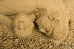 Jesolo-lido, Italien: Sand-Geburt Christi 2016: wunderbare Sand scultures, welche die heilige Familie und den Exodus der Bibel da Stockfoto
