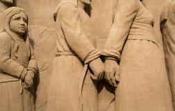 Jesolo-lido, Italien: Sand-Geburt Christi 2016: wunderbare Sand scultures, welche die heilige Familie und den Exodus der Bibel da Lizenzfreies Stockbild