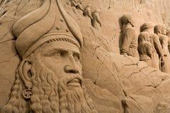 Jesolo-lido, Italien: Sand-Geburt Christi 2016: wunderbare Sand scultures, welche die heilige Familie und den Exodus der Bibel da Stockfotografie