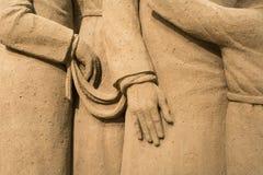 Jesolo-lido, Italien: Sand-Geburt Christi 2016: wunderbare Sand scultures, welche die heilige Familie und den Exodus der Bibel da Lizenzfreie Stockfotografie