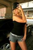 Sexy long blonde hair beautiful woman fashion model Stock Image