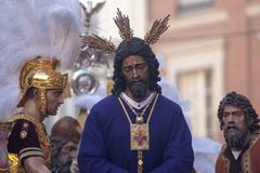 Jess captive and rescued, Holy Week in Seville. Step mystery of the brotherhood of jesus captive the streets of Seville at Easter or Passover Royalty Free Stock Image