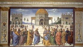 Jesús da los claves del reino de cielos Imágenes de archivo libres de regalías