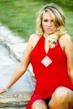 Jess dans la robe rouge Images stock