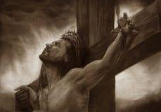 Jesús en el calvary cruzado Imagen de archivo