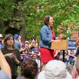 Jess King gives speech in Lancaster, PA. stock photos