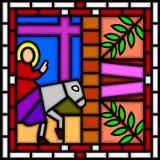 Jesús que entra en Jerusalén Fotos de archivo libres de regalías