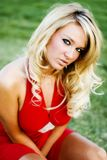 Jess in Red dress Royalty Free Stock Photos