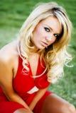 Jess in Rode kleding royalty-vrije stock foto's