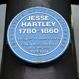Jesse Hartley Blue Plaque at the Albert Dock in Liverpool Royalty Free Stock Photo