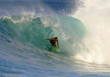Jesse Merle Jones Surfing at Backdoor Stock Images