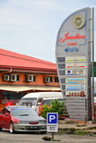 Jesselton punkt undertecknar in Kota Kinabalu, Malaysia Arkivfoto
