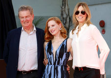 Jessica Chastain, John Madden and Kathryn Bigelow. At Jessica Chastain Hand And Footprint Ceremony held at the TCL Chinese Theatre in Hollywood, USA on November stock photography
