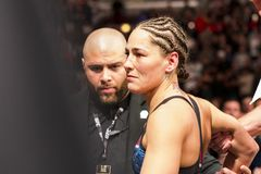 Jessica Eye after knock out stock photo