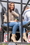 Jessica Shears from Love Island riding Mac Tools Monster Truck Royalty Free Stock Photography