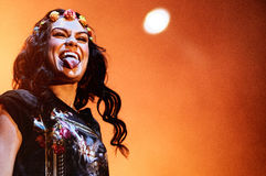 Jessie J, English singer and songwriter, stuck her tongue out to the crowd, during her performance at FIB Festival Stock Photo