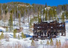 Jessie Mill and Mine, Breckenridge Colorado. From winter snowshoe trail royalty free stock images