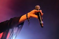 Jessie Ware holds her microphone at Heineken Primavera Sound 2013 Festival Royalty Free Stock Photos