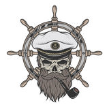 Jest kapitanem czaszkę w kapeluszu z brodą Fotografia Royalty Free