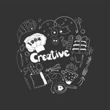 Jest kreatywnie w kucharstwie Doodle ręka rysujący elementy Logo dla kulinarnego pojęcia Fotografia Royalty Free