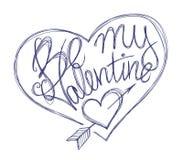 Jest mój valentine balowego pióra sercem Obraz Stock