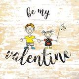 Jest mój valentine literowaniem na drewnianym tle ilustracji