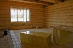 Jest niedokończony drewniany beli kabiny dom Wnętrze fotografia royalty free