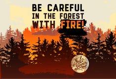 Jest ostrożny w lesie z ogieniem! Dzikiej lasu i Eco turystyki zwrota rocznika typographical grunge projektuje plakat Obrazy Royalty Free