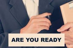 Jesteś przygotowywać wycena ty - Biznesowego mężczyzna tło Zdjęcie Stock