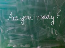 Jesteś Ty przygotowywający? Listy na chalkboard fotografia royalty free