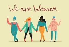 Jesteśmy kobietami, wektorowy tło Obrazy Stock