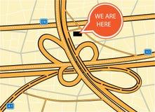 Jesteśmy tutaj mapą Zdjęcie Stock