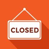 Jesteśmy Zamykającym znakiem z informacja otwartym sklepem, ilustracja Obrazy Royalty Free