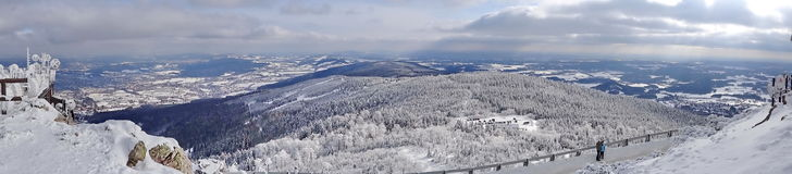 Jested hill, Liberec District, Czech Republic,. Winter view from Jested hill, altitude 1012 m, Liberec District, Czech Republic Royalty Free Stock Images